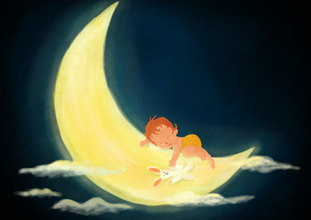 Digital painted night scene of baby kid sleeping on light moon and cluods on the dark sky textured illustration created with watercolor, oil and gouache brushes Standard-Bild