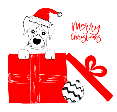Hand drawn monochrome vector illustration with a cute dog celebrating a Merry Christmas - isolated on white background for print cards and web banner Stock Vector - 125795645