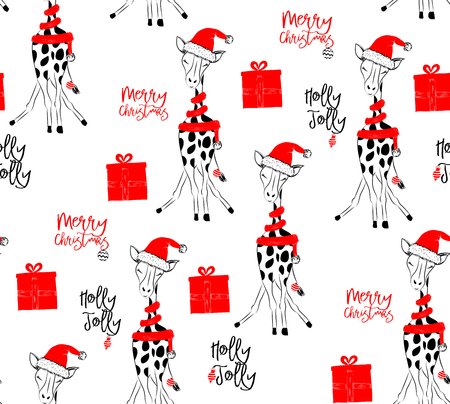 Hand drawn vector illustration with cute baby giraffe celebrating on Christmas background - seamless pattern with isolated on white background Illustration