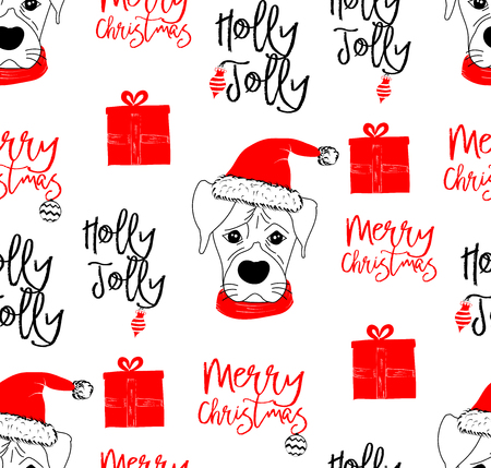 Hand drawn vector illustration with cute baby dog ??on Christmas background - seamless pattern with isolated on white background