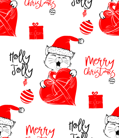 Hand drawn vector illustration with a cute baby cat celebrating on a Christmas background - seamless pattern with isolated on white background Illustration