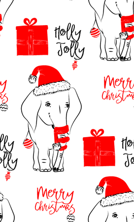 Hand drawn vector illustration with cute baby elephant celebrating on Christmas background - seamless pattern with isolated on white background