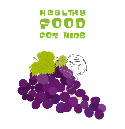 Healthy food for kids vector illustration. Fun and happy children playing on grapes isolated on white background. 向量圖像