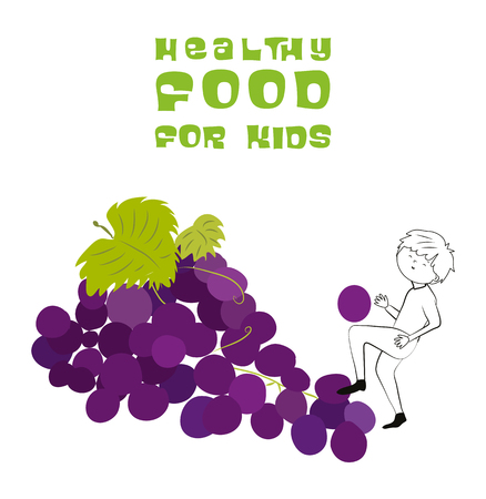 Healthy food for kids vector illustration. Fun and happy children playing on grapes isolated on white background. Illustration