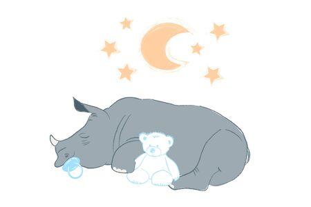 Ilustración de vector dibujado a mano con un lindo bebé rinoceronte durmiendo celebrando el nuevo nacimiento - aislado sobre fondo blanco