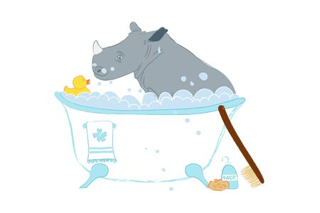 Hand drawn vector illustration with a cute baby rhinoceros celebrating new birth - isolated on white background
