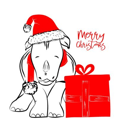 Hand drawn monochrome vector illustration with a cute rhinoceros celebrating in merry Christmas - isolated on white background for print cards and web banner Illustration
