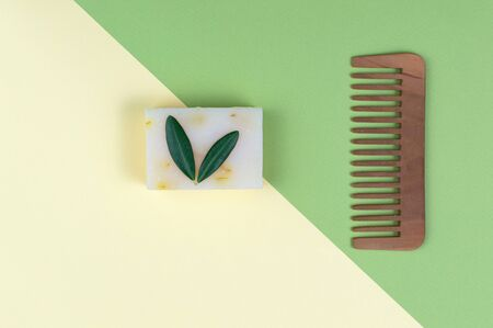 Eco natural and biologic soap and solid shampoo bars. Zero waste concept. Plastic free. Flat lay, top view