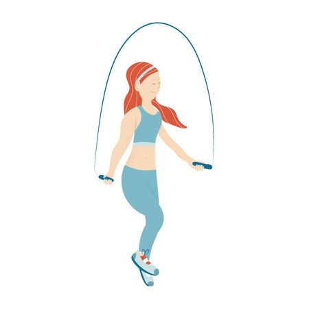 Female Character Engage Sport Activities Doing Exercises, Fitness Workout, Running, Jumping on Rope. Healthy Lifestyle Leisure. Cartoon Flat Vector Illustration isolated on white background Ilustración de vector