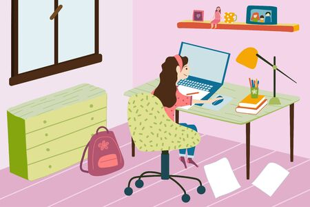 A vector illustration of a kid studying