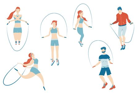 Set of Characters Engage Sport Activities Doing Exercises, Fitness Workout, Running, Jumping on Rope. Healthy Lifestyle Leisure. Cartoon Flat Vector Illustration isolated on white background