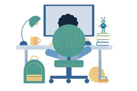 A vector illustration of a kid studying and doing his homework in his bedroom at home