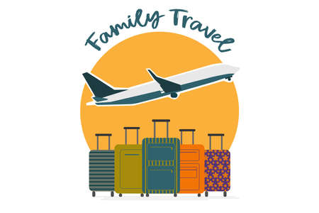 Vector illustration. Family traveling with suitcase on vacation and summer time, holiday Airport, plane. Concept for travel agency, booking service.