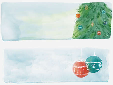 Watercolor Christmas tree with balls and place for text. Illustration for greeting cards and invitations isolated on white background.