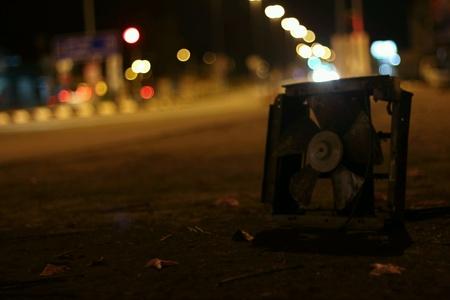dark: Old fan at night dark background