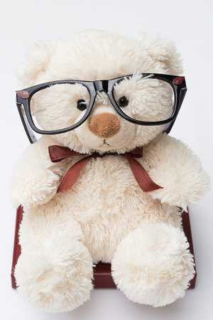 Teddy Bear with Glasses Sitting on a Book, Isolated on White photo