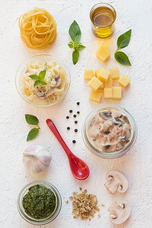 Creamy Ham and Mushroom Tagliatelle with Basil Pesto photo
