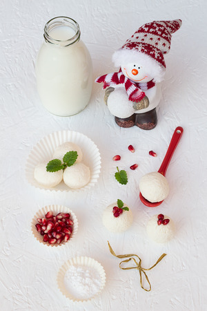 vibrant cottage: Christmas Pomegranate Seeds Cheese Truffles Stock Photo