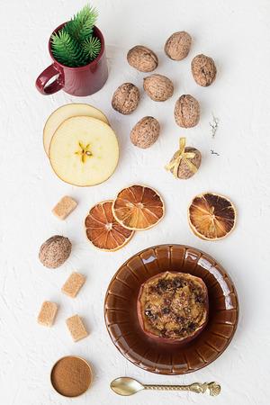 Baked Apple Stuffed with Walnuts, Cinnamon and Brown Sugar photo