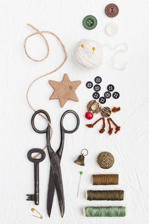 Threads, Buttons and Pins Christmas Set Stock Photo