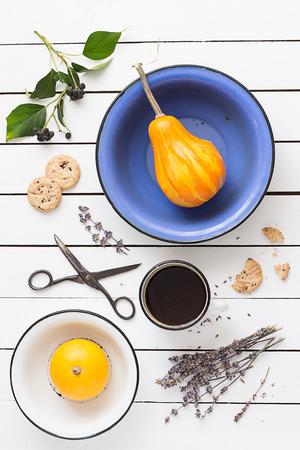 Vivid Color Pumpkins, Lavender Cookies and Coffee photo