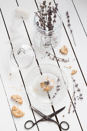 Small Cookie Gift on a Crystal Plate with Dried Lavender photo