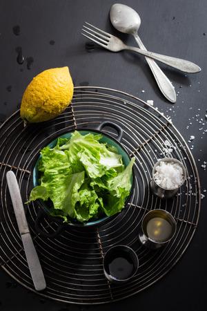 Lettuce Salad and Basic Dressing Ingredients