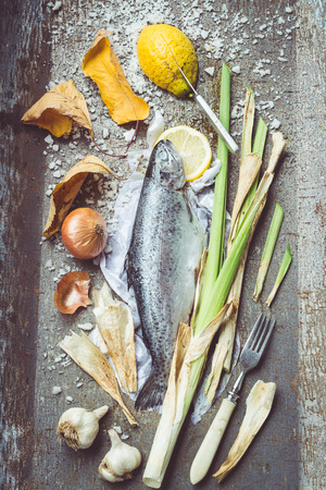 Retro Filtered Image: Roast Rainbow Trout Ingredients Still Life. Vintage Metal Background photo