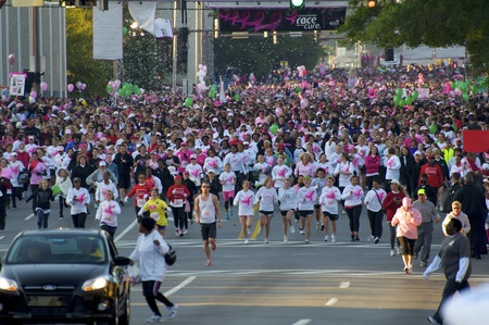Moments after the race begins, Race for the Cure Little Rock, Arkansas. Oct 22, 2011. Editorial