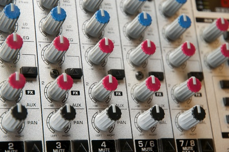music production: Recording Studio, live sound, Close up of audio mixer. Performance. Music Production.