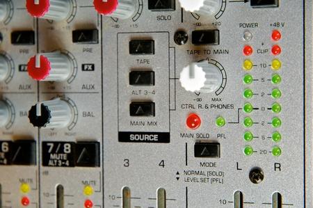 Recording Studio, live sound, Close up of audio mixer. Performance. Music Production.