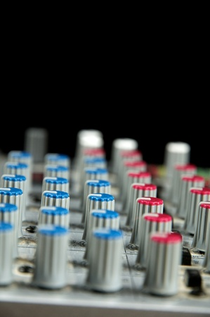 audio mixer: Recording Studio, live sound, Close up of audio mixer. Performance. Music Production.