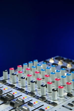 Recording Studio, live sound, Close up of audio mixer. Performance. Music Production. photo