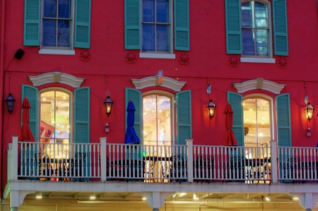 orleans: New Orleans French Quarter at dawn during Marti Gras Stock Photo