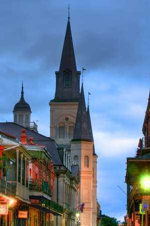 New Orleans French Quarter at dawn during Marti Gras Editorial
