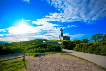 montauk: Lighthouse in Montauk Point New York Captured In Early Morning Sun.