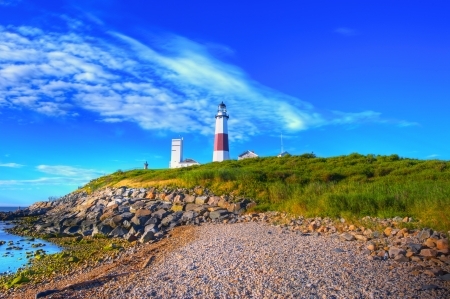 Lighthouse in Montauk Point New York Captured In Early Morning Sun.