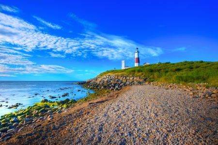 Lighthouse in Montauk Point New York Captured In Early Morning Sun. photo