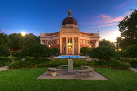 Southern Mississippi University Campus Admin Building in Pre Dawn Light  Editorial