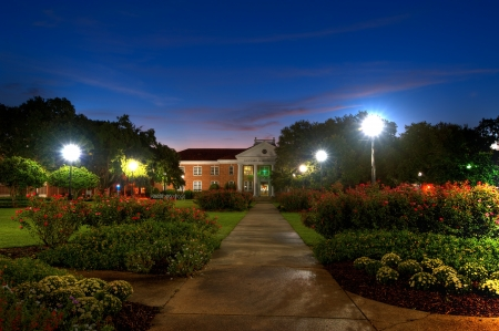 Southern Mississippi University Campus in Pre Dawn Light  Editorial