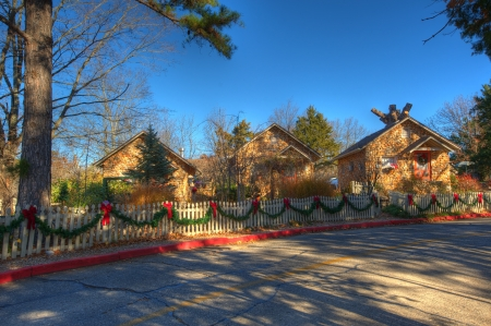 eureka springs arkansas stone cabins decorated for christmas stock photo 17326811 - Cabins Decorated For Christmas