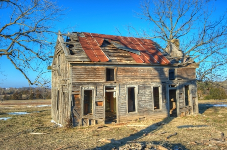 Old abandoned homestead in rural northwest Arkansas  Stock Photo