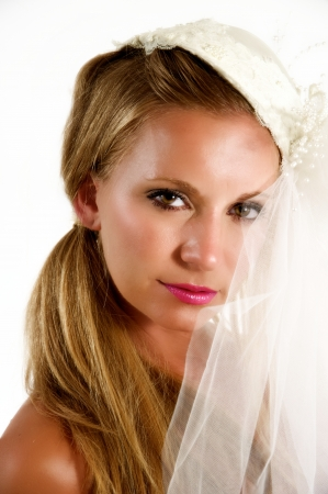 Portrait of a beautiful young bride. Stock Photo