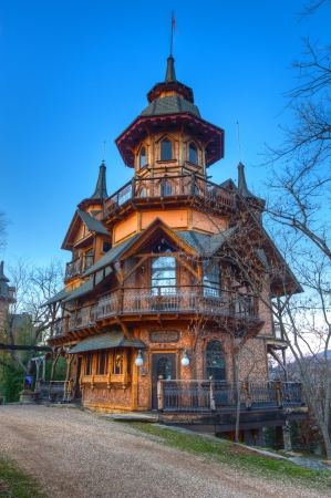 Fantasy castle built in the Ozark Mountains. Editorial