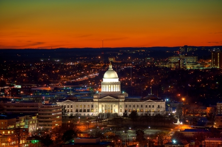rock: Little Rock Capitol and city lights after sunset.