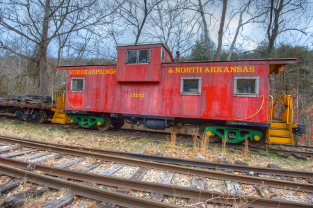 caboose: Vintage railroad caboose from a bygone era