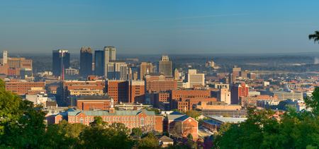 Birmingham Alabama in morning sun from Vulcan Park. Stock Photo