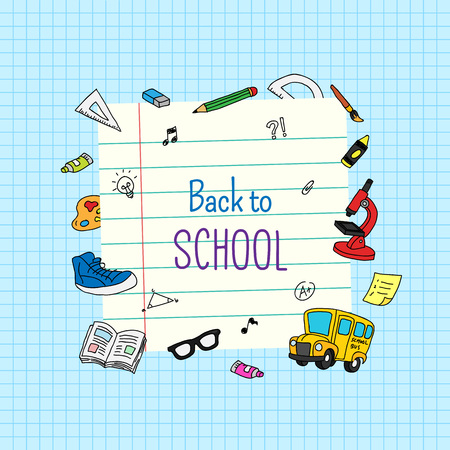 Back to school. Note paper template design with colored school activity object doodle and grid background