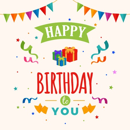 Happy birthday to you background vector. gift box illustration with party flag and confetti ornament. Greeting, banner, backdrop, poster template, colorful greeting card design.