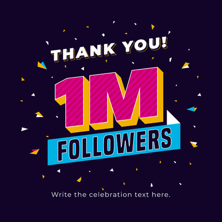 1m followers, one million followers social media post background template. Creative celebration typography design with confetti ornament for online website banner, poster, card.